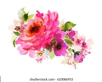 A bouquet with a big pink rose and small flowers in bright colors. Watercolor horizontal composition.