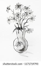 Bouquet of camomiles in ceramic jug