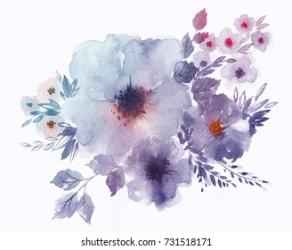 Bouquet of delicate watercolor spring flowers for wedding greeting card. Modern botanical illustration on white background.