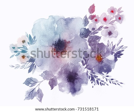 Bouquet Delicate Watercolor Spring Flowers Wedding Stock