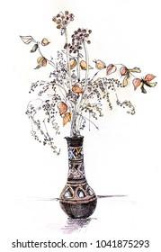 Bouquet of dry plants in ceramic vase