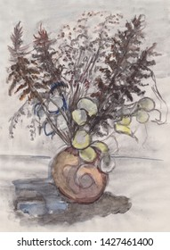 Bouquet of dry plants drawing by coal and watercolor