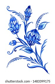 Bouquet of fabulous blue flowers in the Dutch style, Delft, Chinese porcelain, Gzhel. Floral motif for painting ceramics and porcelain, print for other designs, watercolor isolated on white background