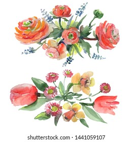 Bouquet floral botanical flowers. Wild spring leaf wildflower isolated. Watercolor background illustration set. Watercolour drawing fashion aquarelle isolated. Isolated bouquets illustration element.