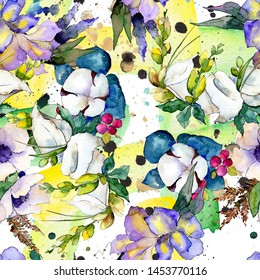 Bouquet floral botanical flowers. Wild spring leaf wildflower. Watercolor illustration set. Watercolour drawing fashion aquarelle. Seamless background pattern. Fabric wallpaper print texture.