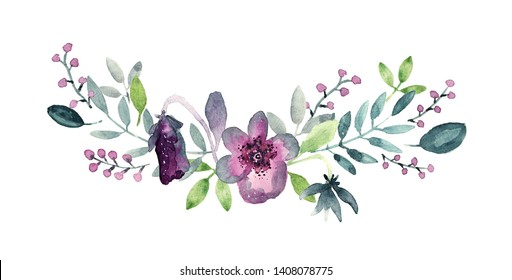 Bouquet with floral elements, violet pansy flowers, leaves, berries. Loose watercolor style