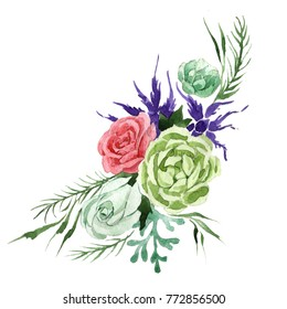 Bouquet flower in a watercolor style isolated. Full name of the plant: rosa, hulthemia. Aquarelle wild flower for background, texture, wrapper pattern, frame or border.