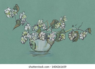 bouquet of flowering branches in glass vase