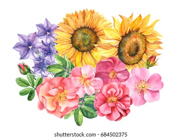 A bouquet of flowers, bells. Sunflower and dog rose, watercolor