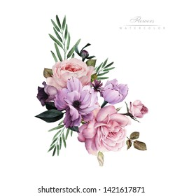 Bouquet of flowers, can be used as greeting card, invitation card for wedding, birthday and other holiday and  summer background