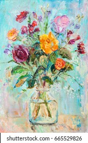 bouquet of flowers in glass bank