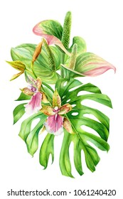 bouquet of flowers, leaves of palm trees, anthurium, orchid, watercolor illustration, hand drawing, flora design