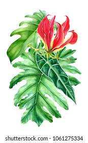 bouquet of flowers, leaves of palm watercolor illustration, hand drawing, flora design