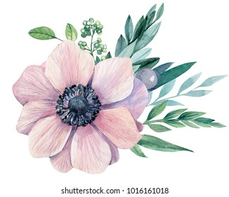 bouquet of flowers, a light pink anemone and leaves, watercolor painting, hand drawing. wedding card