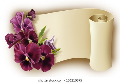 bouquet of flowers and a roll of paper