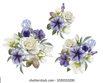Bouquet of flowers. Flowers set of watercolor roses, petunias and hellebore