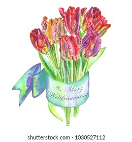bouquet of flowers tulips painted in watercolor bandaged with a ribbon , 8. März Weltfrauentag