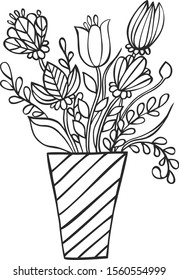 bouquet flowers vase coloring book 260nw