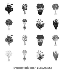 A bouquet of fresh flowers black,monochrome icons in set collection for design. Various bouquets bitmap symbol stock web illustration.