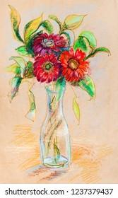 Bouquet in glass vase