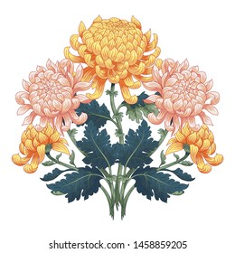 Bouquet of Japanese chrysanthemums. Isolated element for design