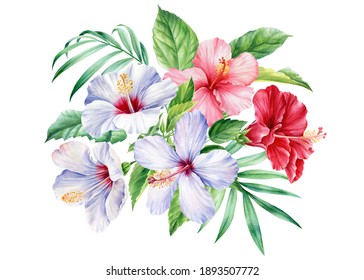 Bouquet with leaves of palm trees, tropical flowers hibiscus on a white background, watercolor botanical illustration