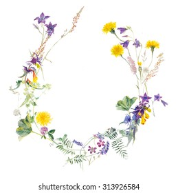 Bouquet from meadow flowers. Circle frame. Watercolor hand drawing illustration.