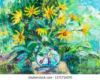 Bouquet ofautumn flowers in glass jug in garden