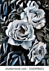 Bouquet of peonies. Modern abstraction in the style of cubism. The painting is executed in oil on canvas with elements of pastel painting.