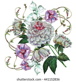 Bouquet peony with bindweed