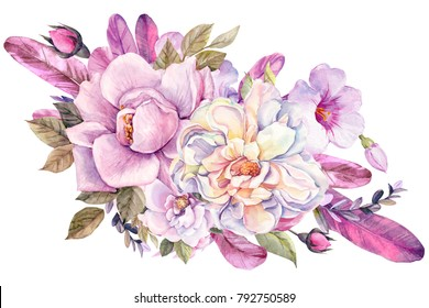 bouquet of pink flowers, roses, anemones and leaves, feathers of birds, watercolor illustration
