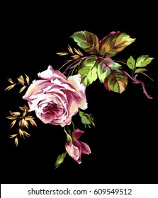 Bouquet of pink roses and golden oats on a black background