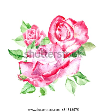Bouquet pink roses rose bush pink stock illustration 684518575 bouquet of pink roses rose bush pink flowers watercolor painting wedding and mightylinksfo