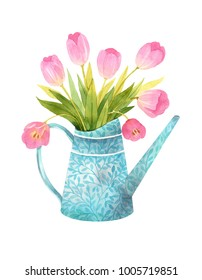 A bouquet of pink tulips in a blue watering can with floral pattern. Watercolor illustration isolated in white background