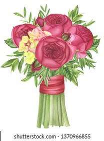 Bouquet with red roses, hydrangea, clematis and leaves, watercolor painting. For design cards, prints and textile.