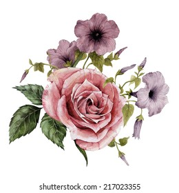 Bouquet of roses and convolvulus, watercolor, can be used as greeting card, invitation card for wedding, birthday and other holiday and  summer background