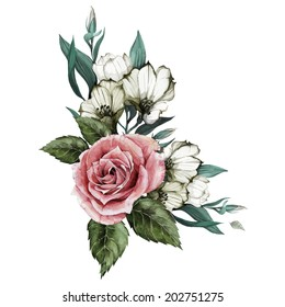 Bouquet of roses and eustoma, watercolor, can be used as greeting card, invitation card for wedding, birthday and other holiday and  summer background