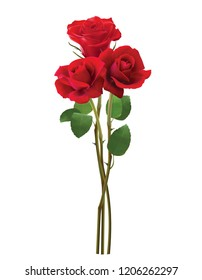 Bouquet of roses, isolated on white. Realistic 3d illustration