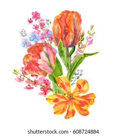 Bouquet spring blossom: red tulips, pink hyacinth, blue forget-me-nots flowers, stems, leaves, buds, petals, hand draw watercolor painting, white background, botanical illustration, close-up, vintage