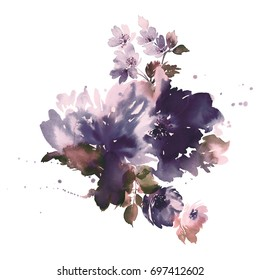Bouquet of spring delicate watercolor flowers for wedding greeting card. Gray violet range