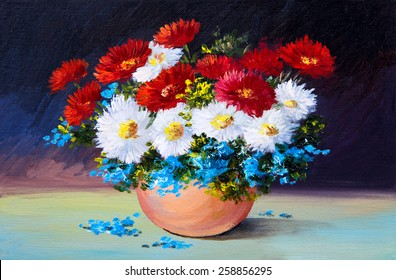 bouquet of spring flowers, still life oil painting