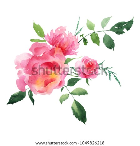 Bouquet Spring Flowers Wedding Greeting Card Watercolor Stock