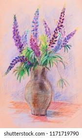 Bouquet of summer flowers in ceramic jug