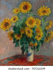 Bouquet of Sunflowers, by Claude Monet, 1881, French impressionist painting, oil on canvas. Sunflowers in a Japanese vase on a red tablecloth