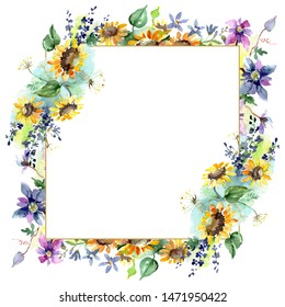 Bouquet with sunflowers floral botanical flowers. Wild spring leaf wildflower isolated. Watercolor background illustration set. Watercolour drawing fashion aquarelle. Frame border ornament square.