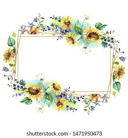 Bouquet with sunflowers floral botanical flowers. Wild spring leaf wildflower. Watercolor background illustration set. Watercolour drawing fashion aquarelle. Frame border crystal ornament square.