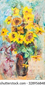Bouquet of sunflowers and other autumn plants