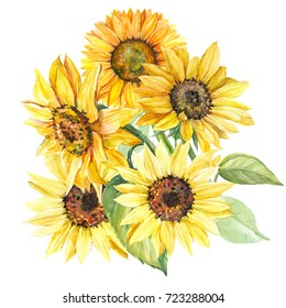 Watercolor Sunflower Images Stock Photos Vectors Shutterstock
