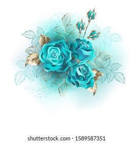 Bouquet of three turquoise roses with gold and turquoise leaves on white background.