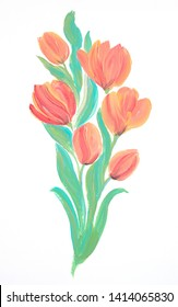 Bouquet of tulips, acrylic painting on white background
